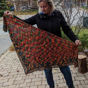 Accessories - Knitted Shawl, hand knitted shawl, bright shawl, t